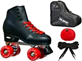 New! Epic Classic Black & Red High-Top Quad Roller Skate Bundle w/ Bag, Laces, & Pom Poms! (Mens 5)