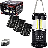 Gold Armour 4Pack Portable LED Camping Lantern (EMITS 350 LUMENS!) LED Lantern - Camping Equipment Gear Lights for Emergency, Hurricane, Power Outage, Great Gift Set (Black, Collapsible) (CL60)