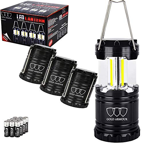 Gold Armour 4Pack Portable LED Camping Lantern (EMITS 350 LUMENS!) LED Lantern - Camping Equipment Gear Lights for Emergency, Hurricane, Power Outage, Great Gift Set (Black, Collapsible) -