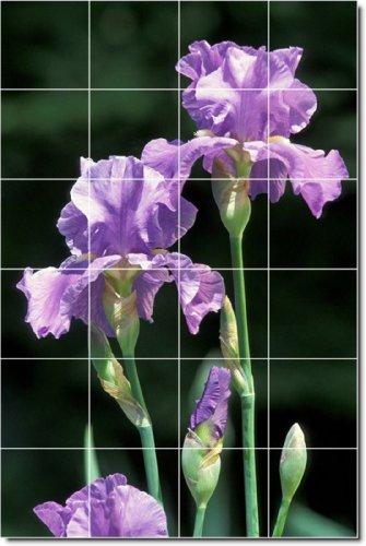 Flowers Photo Backsplash Tile Mural 28. 32x48 Inches Using (24) 8x8 ceramic tiles.