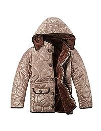 XiaoYouYu Big Boy's Windproof Hooded Winter Warm Fur Coats