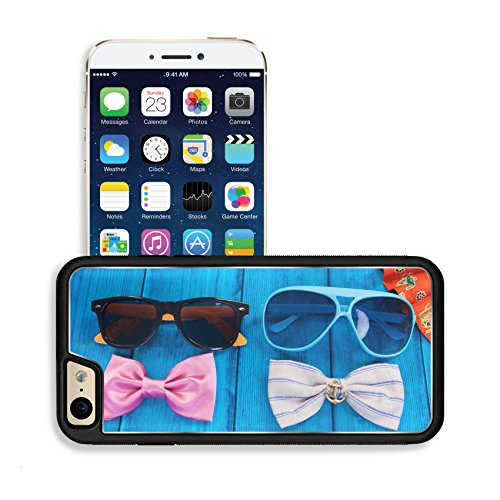 Luxlady Premium Apple iPhone 6 iPhone 6S Aluminum Backplate Bumper Snap Case IMAGE ID: 31763747 fan with red bow tie and sunglasses on blue wooden - Japanese Sunglasses Emoji