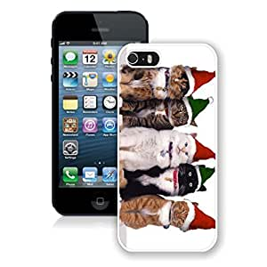 Popular Sell Green Red Christmas Hat Cats Iphone 5s Case,Phone Case For Iphone 5,Iphone 5 White TPU Cover