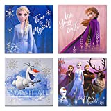 "Disney Frozen 2 4 Pack Canvas LED Wall Art, Eachpiece Measures 11.4"" X 11.4"""