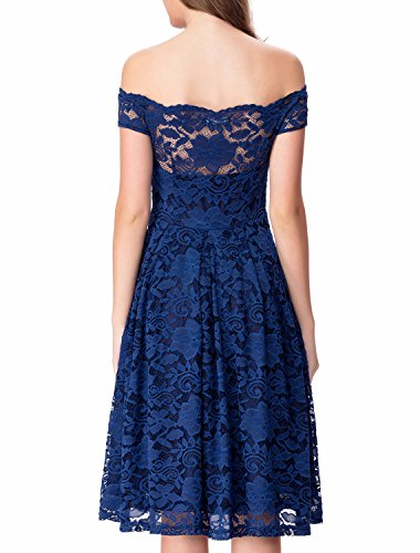 Noctflos women 39 s off shoulder lace flare dress for for Amazon wedding guest dress