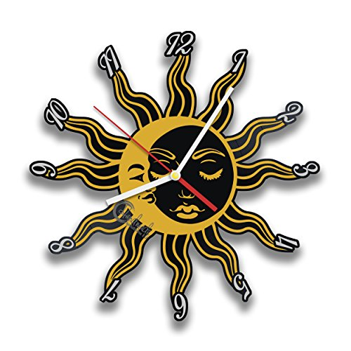 Sun And Moon Universe, Space Planet Vinyl Record Wall Clock For Bedroom, Living Room, Office by Handmade Solutions
