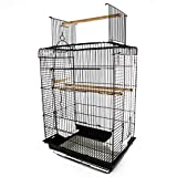 PawHut 22' H Steel Parrot Bird Cage Open Play Top Perch Feeding Bowl - Black