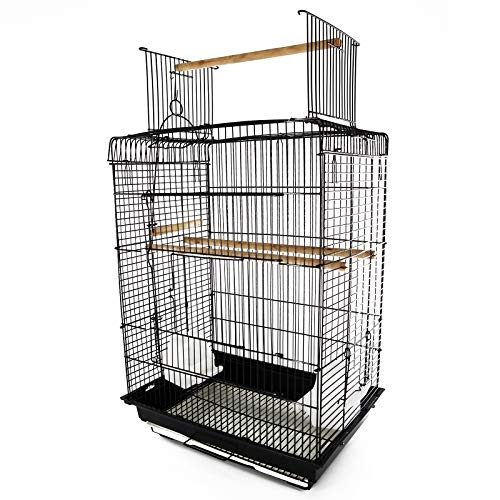 "PawHut 22"" H Steel Parrot Bird Cage Open Play Top Perch Feeding Bowl - Black"