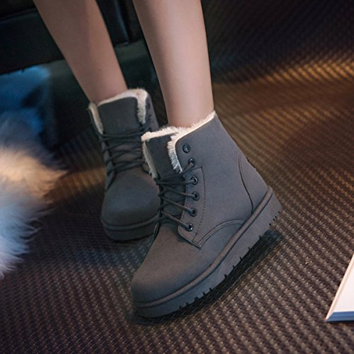 Warm Suede Faux Shoe Lining Color Gray Flat Women Lace Snow Fur Ankle Boots Winter Up Gaorui AEHYx