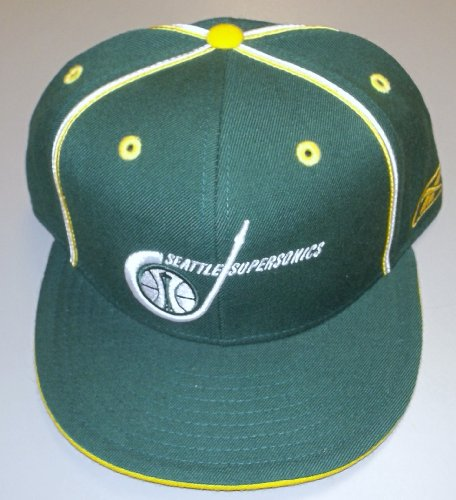 Seattle Supersonics Flat Bill Fitted Hardwood Classics Reebok Hat Size 7 1/2 - T231S