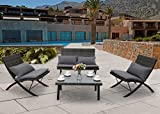 Cheap PHI VILLA 4-Piece Modern Conversation Set All Weather Cushioned Patio Furniture w/Loveseat, 2 Recliners Chair, Coffee Table – Charcoal