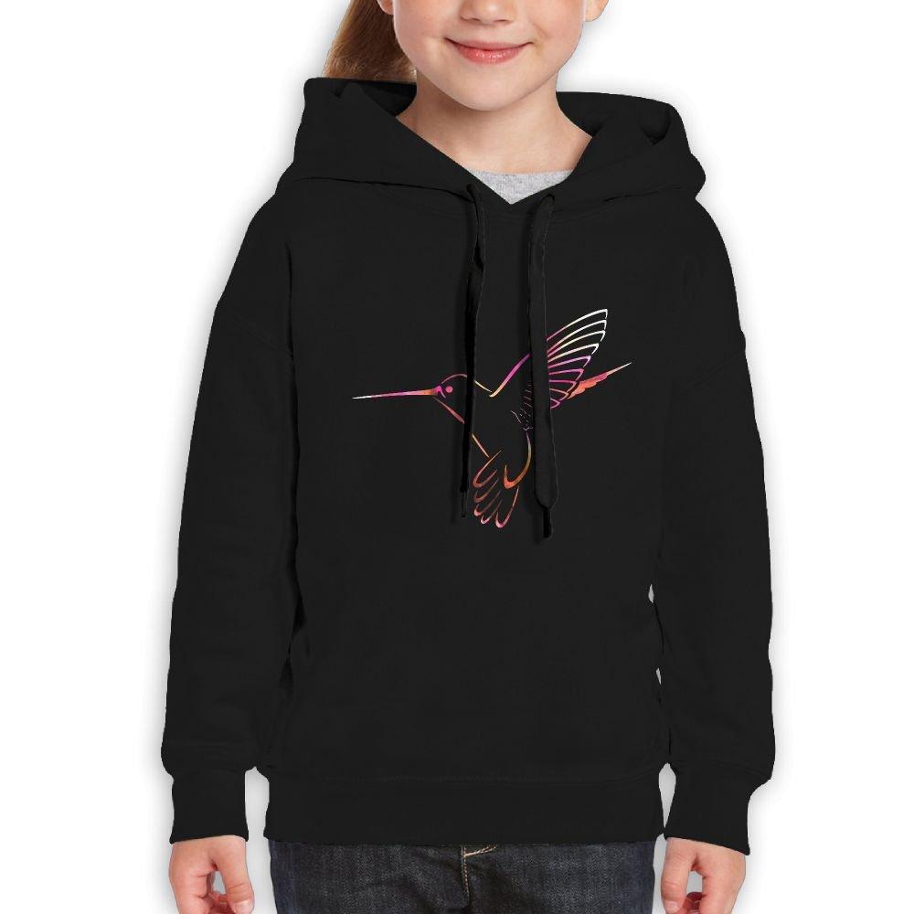 Beautiful Color Splash Hummingbird Girls Boys Teens Cotton Long Sleeve Cute Sweatshirt Hoodie Unisex