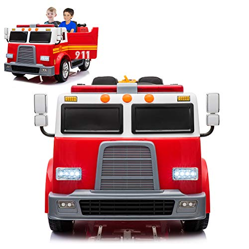 (Fire Truck Electric Ride On Car 2 Seats with Remote Control for Kids | 12V Power Battery Kid Car to Drive with 2.4G Radio Parental Control, Openable Door, Water Tank, Intercom & LED Light)