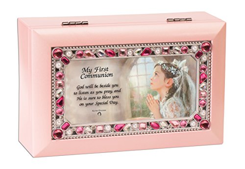 First Communion Girl Petite Pink Jeweled Music Box Plays Jesus Loves Me (Jeweled Gift Boxes)