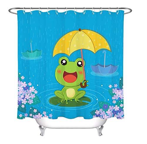 xtszlfj Kids Cartoon Frog Umbrella Rainy Day Shower Curtain Bathroom Screens Waterproof Polyester Fabric for Bathtub Decor with 12 Hooks 180x200cm