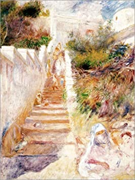 Lienzo 50 x 70 cm: The Steps, Algiers de Pierre-Auguste Renoir/Bridgeman Images - Cuadro Terminado, Cuadro sobre Bastidor, lámina terminada sobre Lienzo auténtico, impresión en Lienzo