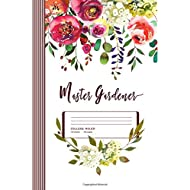 "Master Gardener: Floral Gardening Gift Flower Composition Notebook Journal, College Ruled Lined, 100 Pages, 6"" x 9"" (15.24 x 22.86 cm)"