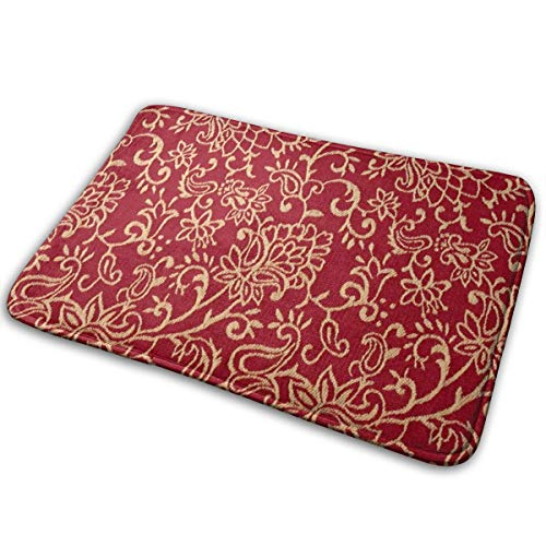 SHNUFHBD Crimson Burgundy and Gold Intricate Floral Bath Mat Coral Velvet Designer Shower Home Interior Exterior Floor Rug Door Mat