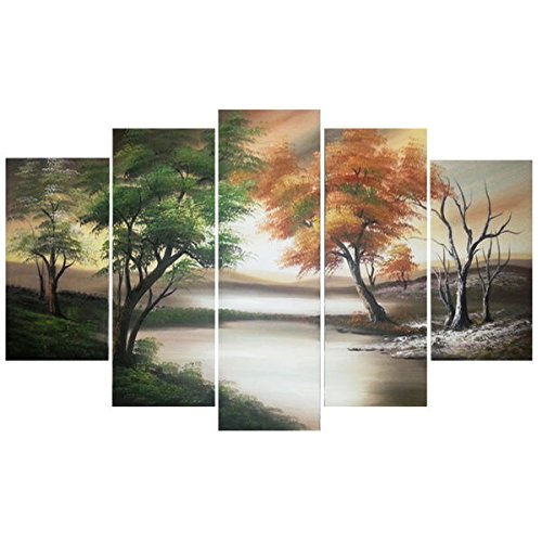Changing Seasons' Large Gallery-wrapped Hand Oil Painting Canvas Art