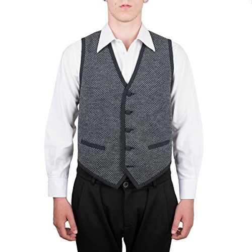 Vest, Gilet, Waistcoat, Knitwear, Men, Boy, Black, Grey, Check, Wool, Buttons, Pockets, Casual, Business, Formal, Sleeveless, Italian Fabric, Italian Style, Made in Italy, Handmade by Old Fashion Sartoria, Florence, Italy