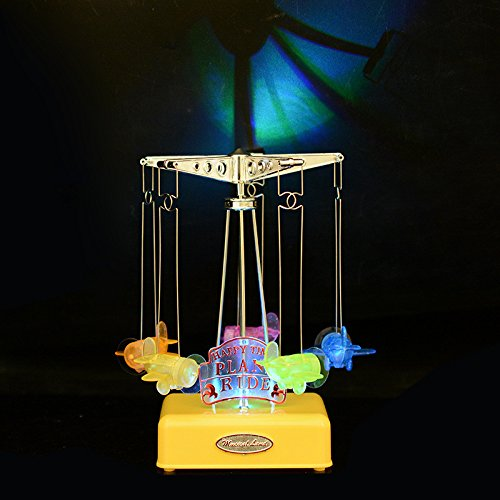 Gold Happy LED lighted music box Plastic plane Model Craft Movement musical box Carousel Mechanism musical Toy Gift for kid