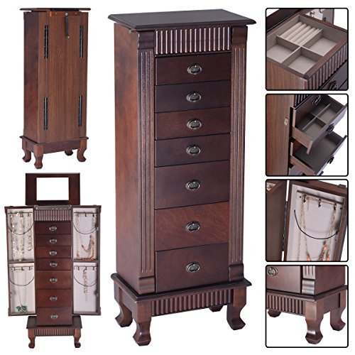 Armoire-Box-Storage-Chest-Stand-Organizer-Necklace-Wood (Omega Necklace Box)