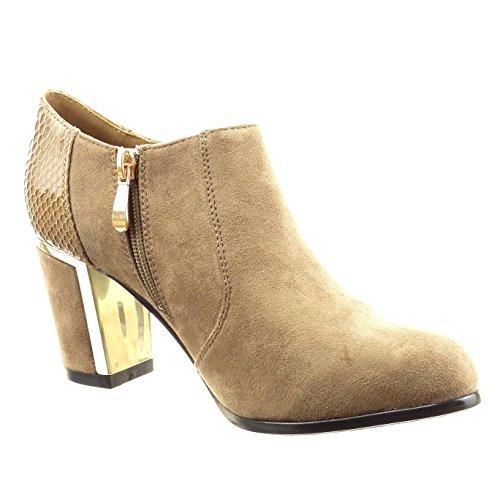 Sopily - Scarpe da Moda Stivaletti - Scarponcini low boots alla caviglia donna pelle di serpente zip metallico Tacco a blocco tacco alto 7 CM - Khaki