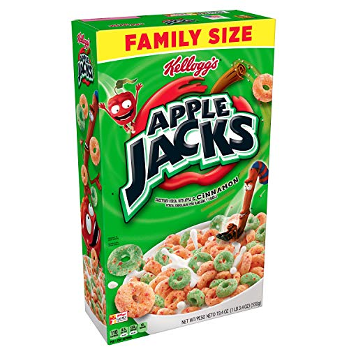 Kelloggs Apple Jacks, Breakfast Cereal, Original, Family Size, 19.4 oz Box