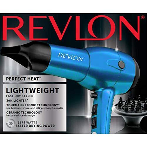 Revlon RV544BLF 1875W Ultra Lightweight Ionic Ceramic Dryer, Blue