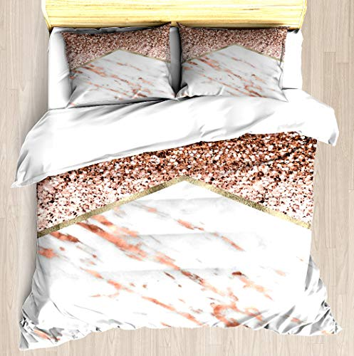 NTCBED Shimmering Rose Gold with Rose Gold Marble - Duvet Cover Set Soft Comforter Cover Pillowcase Bed Set Unique Printed Design Duvet Covers Blanket Cover Twin/XL Size ()
