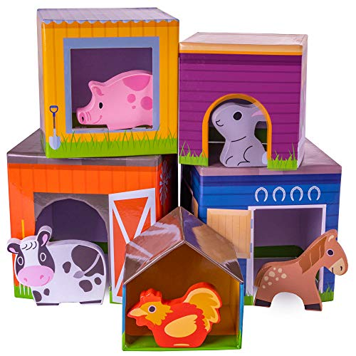 'n Stack Nesting Blocks | 5 Barnyard Pals & Stackable Home Boxes | Wooden Animals Fit into Colorful Cube Shapes | Includes Chicken, Cow, Pig, Horse, and Rabbit | Classic Kids Toy ()