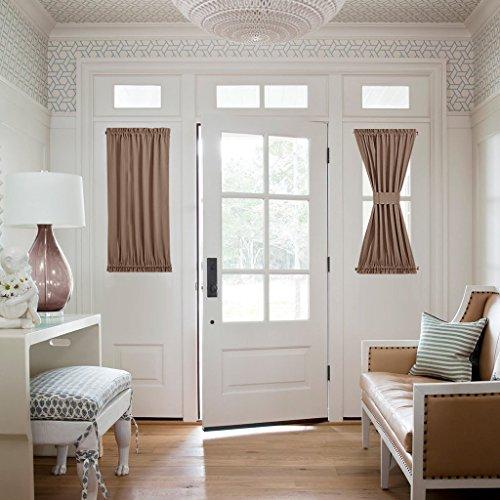 NICETOWN Door Curtain Panels for Sidelights - Energy Efficient Blackout Privacy Door Panels Curtain Blinds for Patio Door/Glass Door - 2 Pieces W25 x L40 inches - Cappuccino