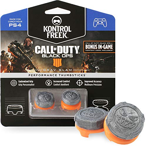 KontrolFreek Call of Duty: Black Ops 4 Grav Slam for PlayStation 4 (PS4) Controller | Performance Thumbsticks | 1 High-Rise Convex, 1 Mid-Rise Convex | Gray/Orange (Modded Call Of Duty Black Ops)