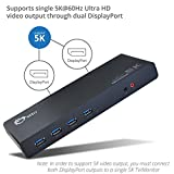 SIIG USB Type C 4K Dual Video Docking Station - Dual 4K@60HZ - Single 5K@60Hz - Thunderbolt 3 Compatible - 2 HDMI 2 DisplayPort Outputs, Gigabit Ethernet, 6 USB 3.0 - MacOS 10.14 + 10.13.3 or Earlier