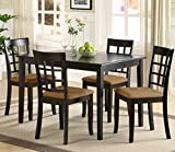 TRIBECCA HOME Wilmington Black Window Back 5-piece Wood Dinette Set Kitchen Table and Upholstered Chairs Dining Room Furniture