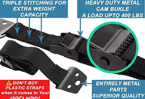 METAL Anti Tip Furniture Kit, TV Safety Straps For Flat Screens, 4 PACK BLACK Furniture Anchors For Baby Proofing, Mounting - Eartquake Straps, Straps For TV, Child Proof Childproof Television Antitip by FamilyCare (Image #1)