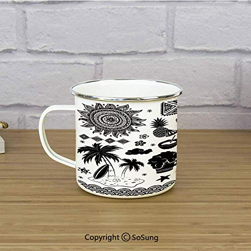 Tiki Bar Decor Enamel Camping Mug Travel Cup,Tribal Ethnic Composition Palms Pineapple Paradise Vintage Tiki Figure Decorative,11 oz Practical Cup for Kitchen, Campfire, Home, TravelDark Brown White