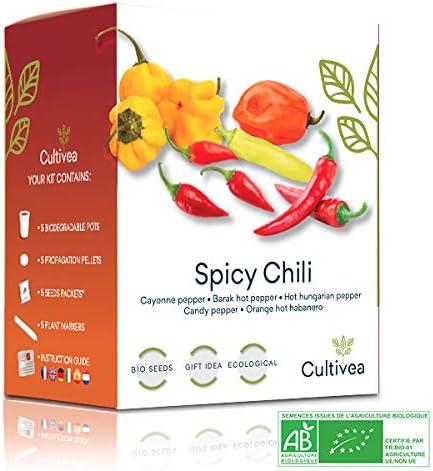 Cultivea Mini - Kit Pronto per la coltivazione di peperoni - 100% semi biologici - Idea regalo (pepe di Caienna, pepe di Barak, pepe di Barak, pepe ungherese, pepe Candy, pepe arancione habanero)