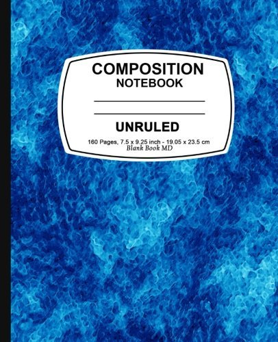 Unruled composition notebook: Blue Marble, Unruled Composition Notebook, 7.5 x 9.25, 160 Pages For for School / Teacher / Office / Student Composition Book
