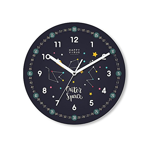HappyVirus 11.22'' Educational Wall Clock, Children's Time Telling Teacher, Silent Non Ticking Home Decoration (Star Sign) #2103 by HappyVirus