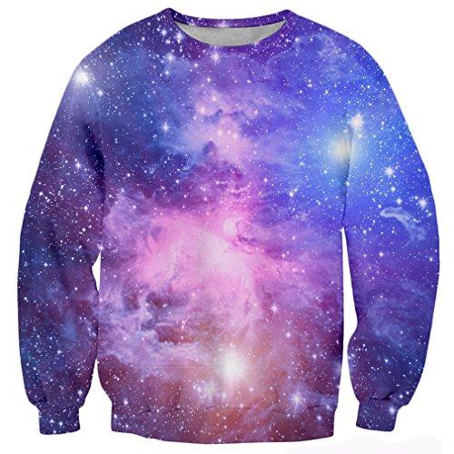 RAISEVERN Unisex 3d Galaxy Print Long Sleeve Crew Neck Pullover Sweater Sweatshirt, Galaxy Nebula, Small