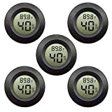 5-pack EEEkit Hygrometer Thermometer Digital LCD Monitor Indoor Outdoor Humidity Meter Gauge for Humidifiers Dehumidifiers Greenhouse Basement Babyroom, Black Round, Measure in Fahrenheit/Celsius