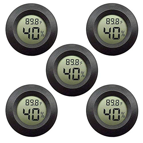 EEEKit 5-Pack Hygrometer Thermometer Digital LCD Monitor Indoor Outdoor Humidity Meter Gauge for Humidifiers Dehumidifiers Greenhouse Basement Babyroom, Black Round, Measure in Fahrenheit/Celsius
