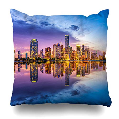 DIYCow Throw Pillows Covers View Miami Florida USA Skyline Skyscrapers On Biscayne Parks Outdoor Key Cushion Case Pillowcase Home Sofa Couch Square Size 18 x 18 Inches Pillowslips ()