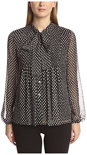 DVF Women's Marjorie Dotted Blouse, Batik Black, (Dotted Batik)