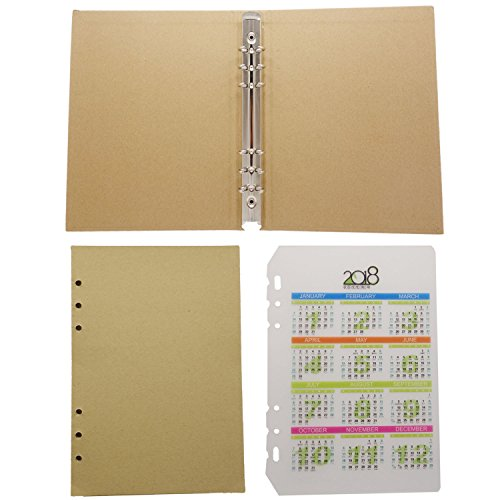 D-Worthy 6-Holes Blank Craft Paper 30 sheets with Round Ring Binder Hard Cover Folder Protector and 1pcs 2018 Calendar Planner Dashboard For A5 Loose Leaf Binder Notebook (A5 Size)
