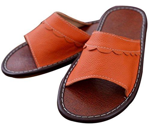 Pantofole Donna In Blues Da Donna Estate Con Finiture Floreali Pantofole In Pelle Arancione