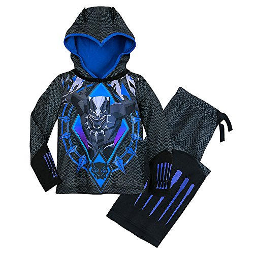 Marvel Black Panther Hooded Sleep Set for Boys Size 5/6 Black