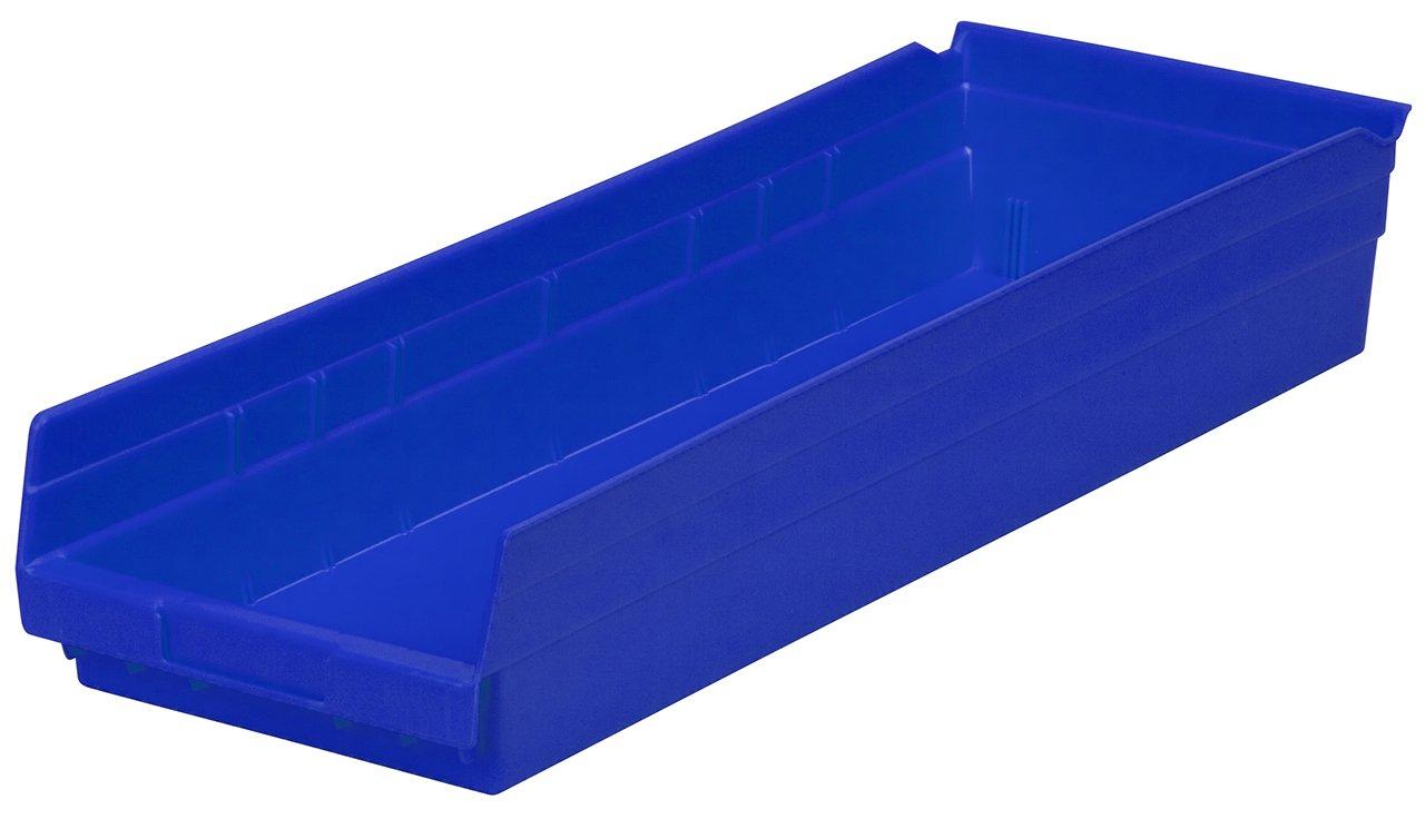 Akro-Mils 30184 24-Inch by 8-Inch by 4-Inch Plastic Nesting Shelf Bin Box, Blue, Case of 6