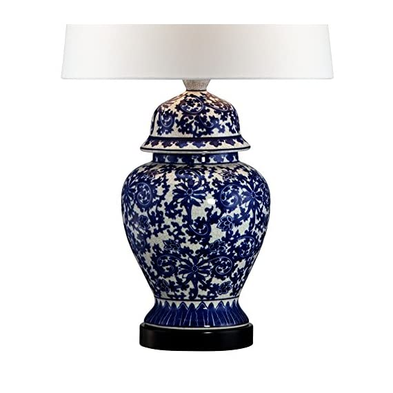 Asian Table Lamp Temple Porcelain Jar Blue Floral White Drum Shade for Living Room Family Bedroom Bedside Nightstand… -  - lamps, bedroom-decor, bedroom - 51ZZ3qgxR4L. SS570  -
